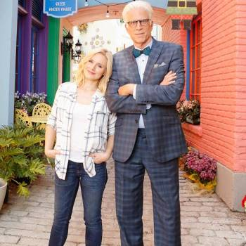"Ted Danson and Kristen Bell on the set of The Good Place. Danson wore the Brackish ""Midnight"" bow tie with this suit during the final episodes of the first season."