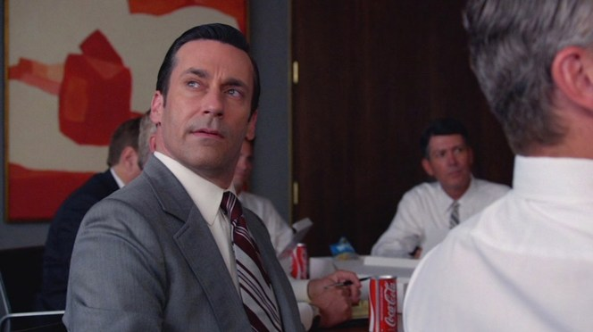 "The subtle moment is sold by the mastery of Phil Abraham's direction and Jon Hamm's nonverbal acting. As Abraham told Vanity Fair: ""We worked on this unease, this unsettling moment that Don experiences where he sees the guys flip the binders over at exactly the right time and they all take out their pens. The research guy is droning on, and [Don] turns, looks out the window, and sees a chance for flight—What am I doing here?—and he leaves."" Perfect shot, indeed."