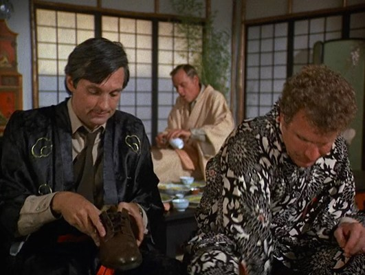 "Kimonos and service uniforms when visiting Henry Blake, who has been temporarily reassigned to Tokyo, in ""Henry, Please Come Home"" (Episode 1.09)."