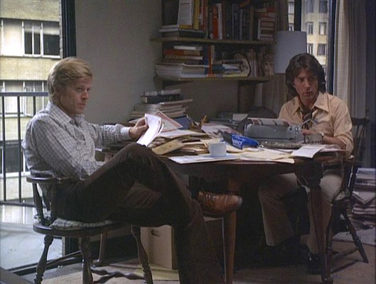 Woodward and Bernstein, hard at work in the former's apartment.
