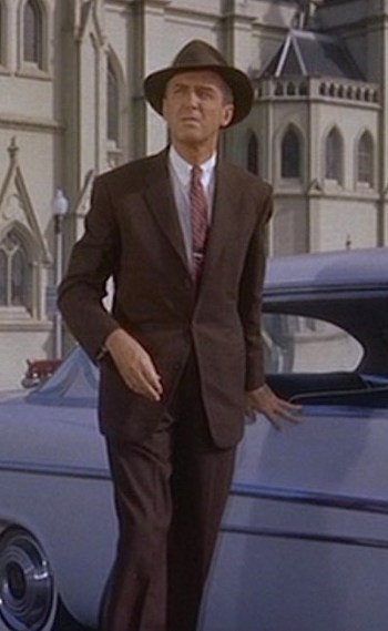 "James Stewart as John ""Scottie"" Ferguson with his white DeSoto in Vertigo (1958)"