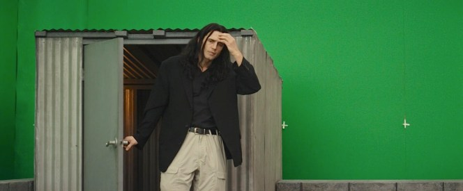 James Franco as Tommy Wiseau, trying one of many takes in The Disaster Artist (2017).