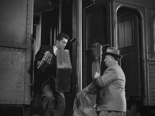 Alfred Hitchcock's trademark cameo inStrangers on a Train was directed by his daughter Patricia, who would also star in the film as Barbara Morton, younger sister of Guy Haines' sophisticated love interest Anne Morton (Ruth Roman).
