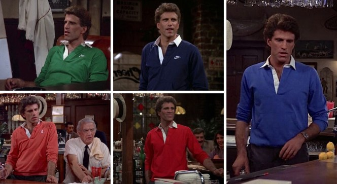 """Sam Malone's """"kangaroo-pocket"""" shirts from across the first season: a green Nike shirt in """"Any Friend of Diane's"""" (Episode 1.06), a navy Nike shirt in """"Endless Slumper"""" (Episode 1.10), a salmon anchor-embroidered shirt in """"Father Knows Last"""" (Episode 1.15) among other episodes, a red shirt in """"Pick a Con...Any Con"""" (Episode 1.19), and a blue shirt in """"No Contest"""" (Episode 1.18)."""