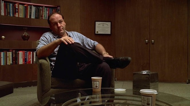 """Bringing two coffees to their therapy sessions isn't enough to endear Tony to Dr. Melfi, for whom he would declare his love by the end of """"Pax Soprana"""" (Episode 1.06)."""