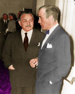 Edward G. Robinson and Humphrey Bogart at Walter Huston's funeral, April 1950. (Colorized photo found on Pinterest)