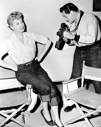 Lucille Ball and Desi Arnaz on the set of The Long, Long Trailer (1954)