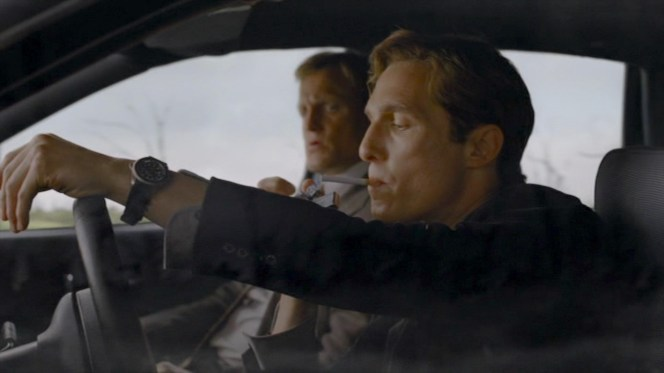 Cohle takes a turn behind the wheel of Marty Hart's unmarked Chevy Caprice, airing just a few months before the first of McConaughey's several commercials featuring the actor sharing his wandering thoughts from behind the wheel of a new Lincoln.