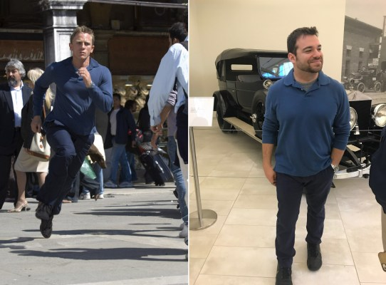 Daniel Craig runs through Venice Casino Royale (left) and the author sporting a 007-inspired outfit for a considerably less stressful outing to The Frick Pittsburgh's Car and Carriage Museum in September 2018 (right). My ensemble consisted of a blue pique Club Room long-sleeved polo, heathered gray Express short-sleeve T-shirt, dark blue Dockers chinos, and black Nike Air sneakers.