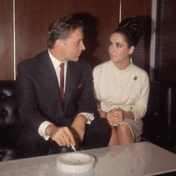 V.I.P. couple Richard Burton and Elizabeth Taylor on set in London, circa December 1962.