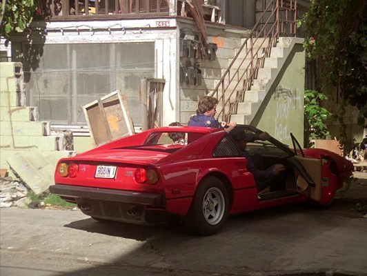 "ROBIN 1 takes the rare third passenger in ""Thicker Than Blood"" (Episode 1.12) when both T.C. and Rick (perched between them) hitch a ride with Magnum in the 1979 Ferrari 308GTS featured during the series' first season."
