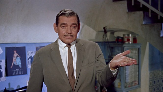 Note the continuity error of what appears to be a yellow gold watch bracelet on Gable's left wrist.