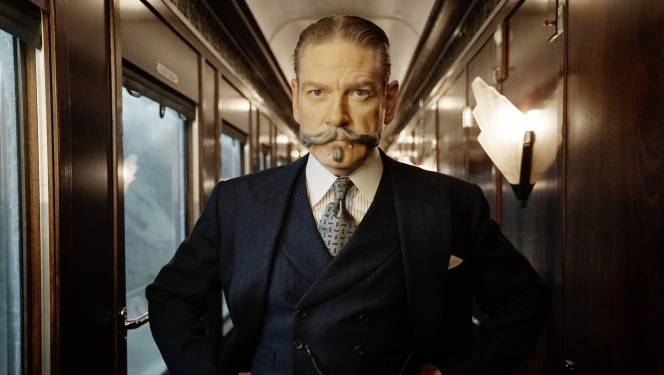 This production photo of Kenneth Branagh aboard the set Orient Express showcases the fine texture of his crime-solving suit.