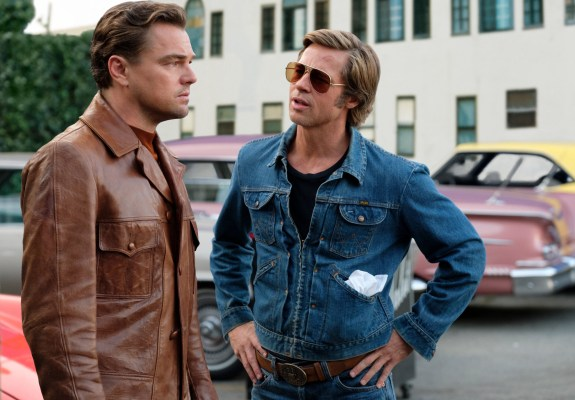 Production photo of Leonardo DiCaprio and Brad Pitt in Once Upon a Time... in Hollywood.