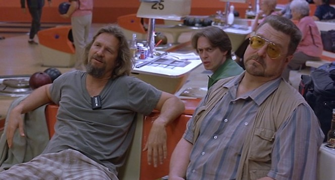 The Dude with his posse: Donny Kerabatsos (Steve Buscemi) and Walter Sobchak (John Goodman).
