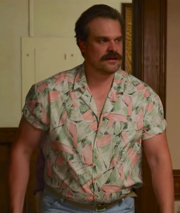 "David Harbour as Jim Hopper on Stranger Things (Episode 3.04: ""The Sauna Test"")"