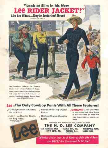 """""""Look at Slim in his New Lee Rider Jacket!"""" was Lee's tagline when advertising to the rodeo crowd in the fall of 1948. (Sourced from Lee)"""