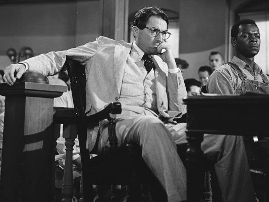 Production photo of Gregory Peck and Brock Peters, who plays the accused Tom Robinson.