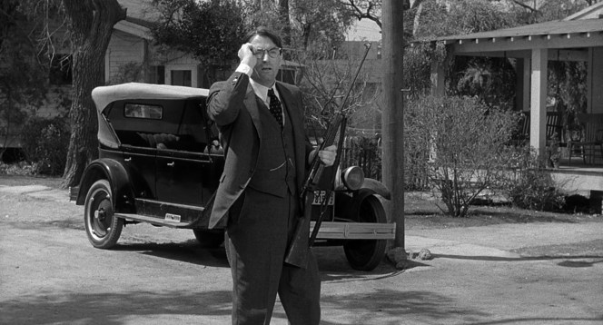 Sheriff Tate's Krag-Jørgensen rifle in hand, Atticus Finch takes account of his marksmanship.