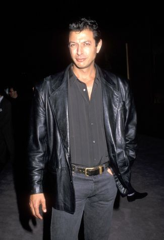 Jeff Goldblum wears his black leather jacket at the Beverly Hills premiere of The Favour, the Watch and the Very Big Fish, dressed in the same jacket he would wear later that year as Dr. Ian Malcolm in Jurassic Park.