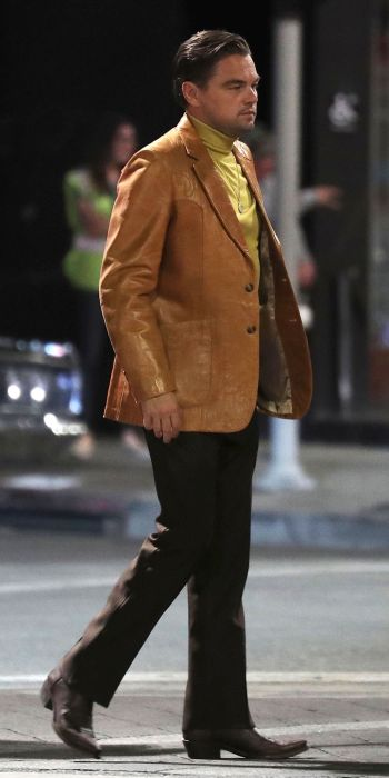 Leonardo DiCaprio on set and in costume as Rick Dalton in Once Upon a Time in Hollywood (2019)