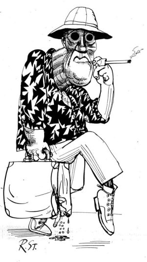 Ralph Steadman's portrait of Hunter S. Thompson with bucket hat, cigarette, Acapulco shirt, and sneakers.