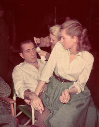 Humphrey Bogart and Lauren Bacall on set of Key Largo (1948)