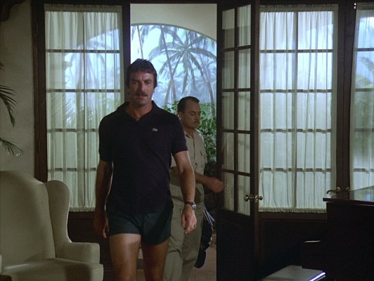 "Magnum's navy Lacoste polo made its final appearance in ""Never Say Goodbye"" (Episode 1.15)."