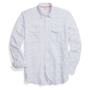 "Standard-Fit Long-Sleeve Linen and Cotton Blend Shirt in ""blue floral"" from Amazon house brand Goodthreads"