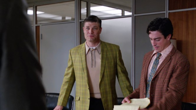 "While I love the retro shirt, ""Lady Lazarus"" (Episode 5.08) may feature my least favorite pairing with one of Stan's yellow plaid sport jackets."