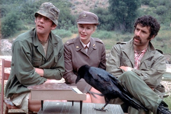 Donald Sutherland, Sally Kellerman, and Elliott Gould on the set of M*A*S*H.