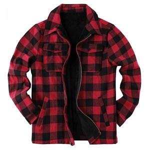 Fleece-Lined Buffalo Plaid Flannel Coat from Runcati