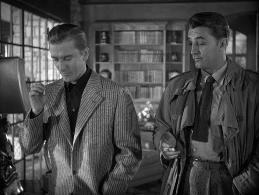Kirk Douglas and Robert Mitchum in Out of the Past (1947)