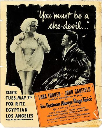 Original May 1946 promotional art from the opening of The Postman Always Rings Twice, featuring Lana Turner and John Garfield in their beach-wear
