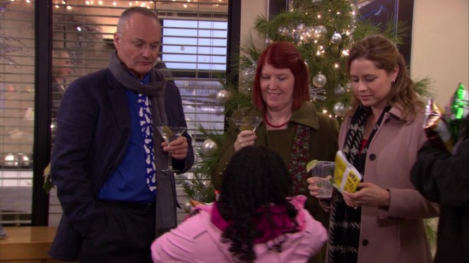 Creed Bratton, Kate Flannery, and Jenna Fischer in The Office