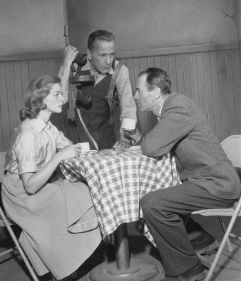 Lauren Bacall, Humphrey Bogart, and Henry Fonda during the 1955 TV production of The Petrified Forest.