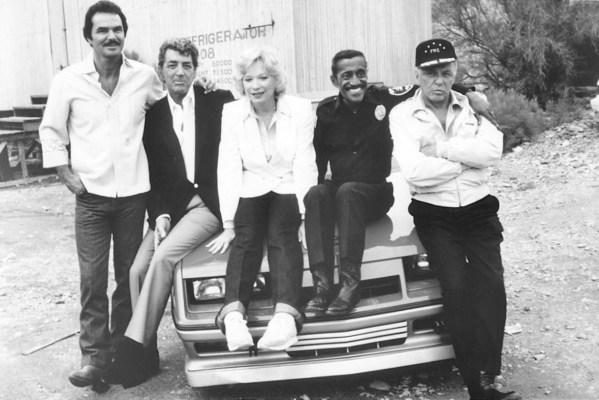 Burt Reynolds, Dean Martin, Shirley MacLaine, Sammy Davis Jr., and Frank Sinatra on the set of Cannonball Run II (1984)