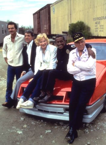 Frank Sinatra, joined by Burt Reynolds, Dean Martin, Sammy Davis Jr., and Shirley MacLaine on the set of Cannonball Run II (1984)
