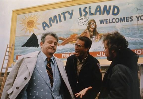 Murray Hamilton, Roy Scheider, and Richard Dreyfuss in Jaws (1975)