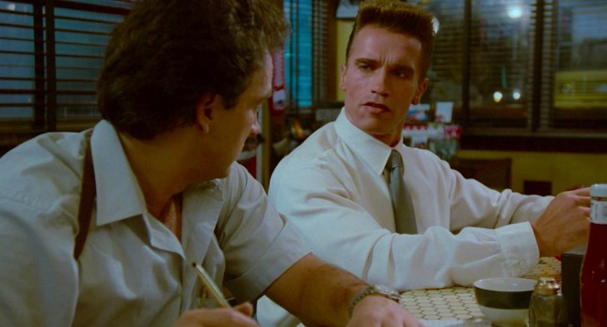 Jim Belushi and Arnold Schwarzenegger in Red Heat (1988)