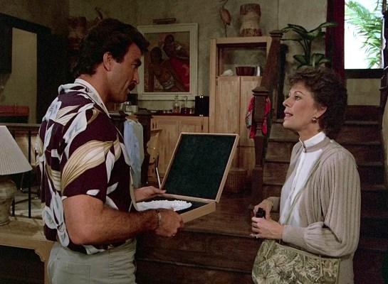 Tom Selleck and Carol Burnett on Magnum, P.I.