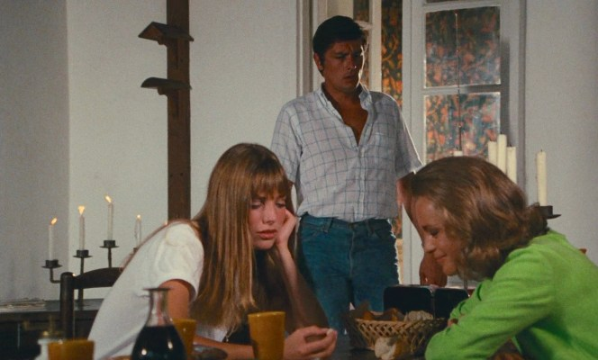 Alain Delon, Jane Birkin, and Romy Schneider in La Piscine (1969)