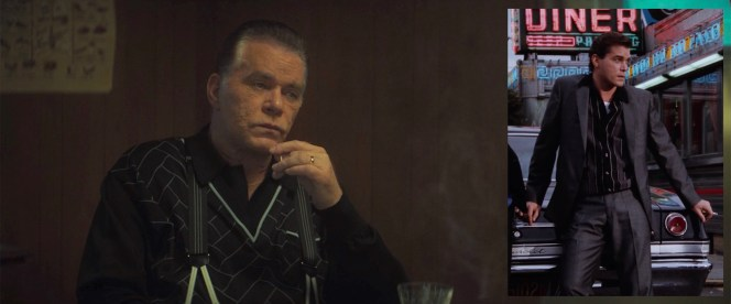 """Ray Liotta as """"Hollywood Dick"""" Moltisanti in The Many Saints of Newark (and, inset, as Henry Hill in Goodfellas)"""