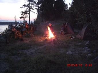 Evening tea Vitim campsite.