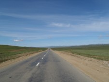 Tarmac road west out of Ulaan Baatar.