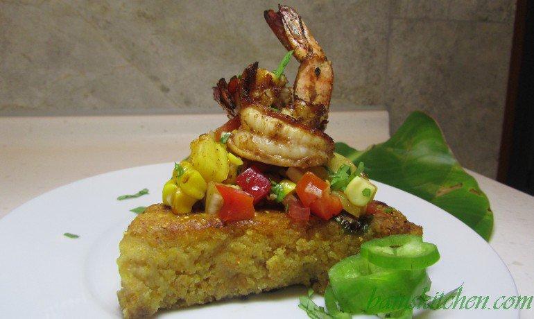 Jalapeno Cornbread with Cajun Shrimp and Salsa