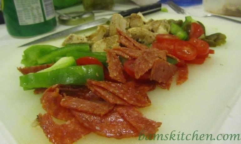 Chicken and parsley pesto calzone