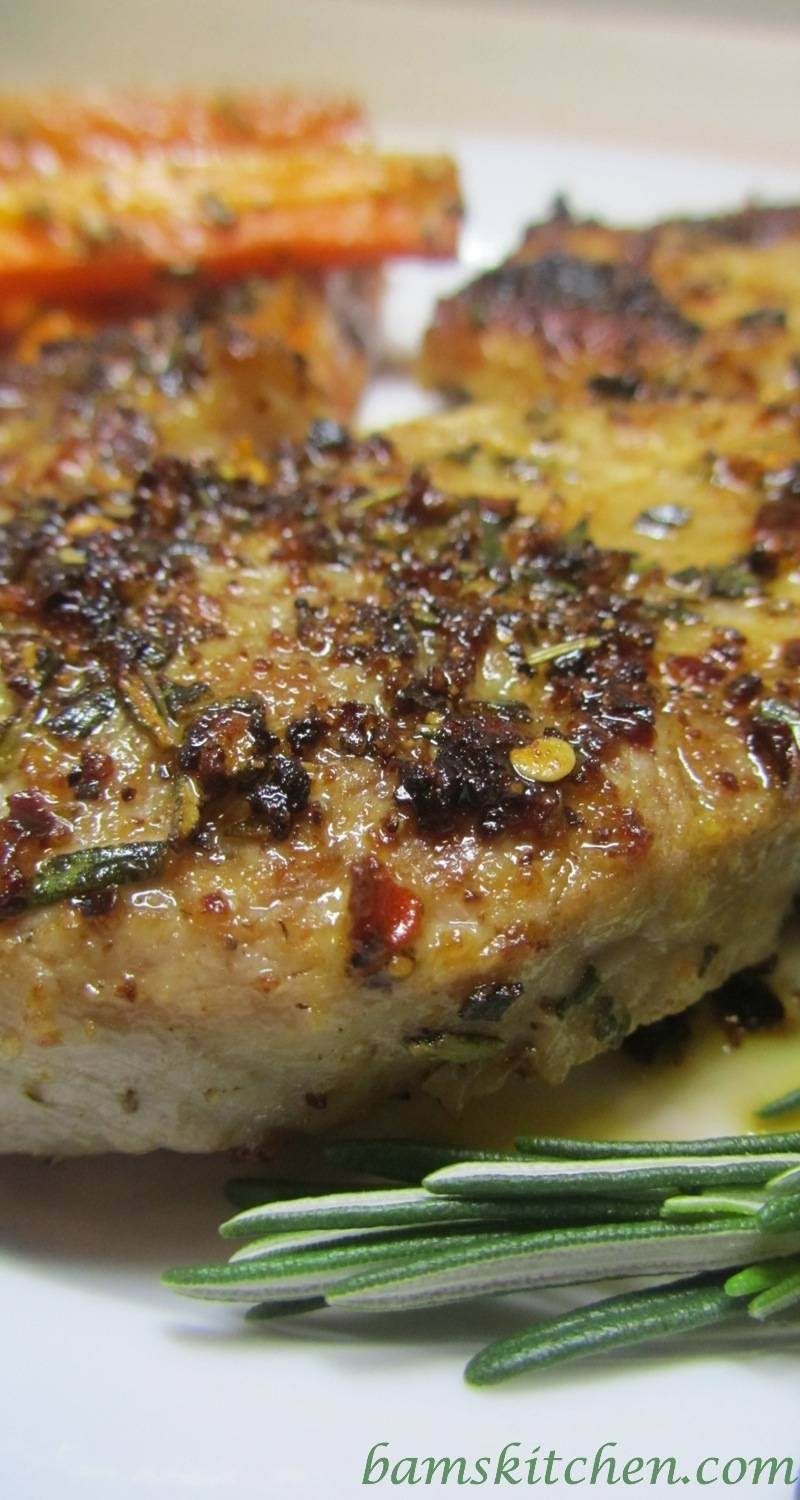 Rosemary herbed Pork chop with shallot wine sauce
