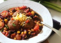 Southwestern Chili with Bison Meatballs