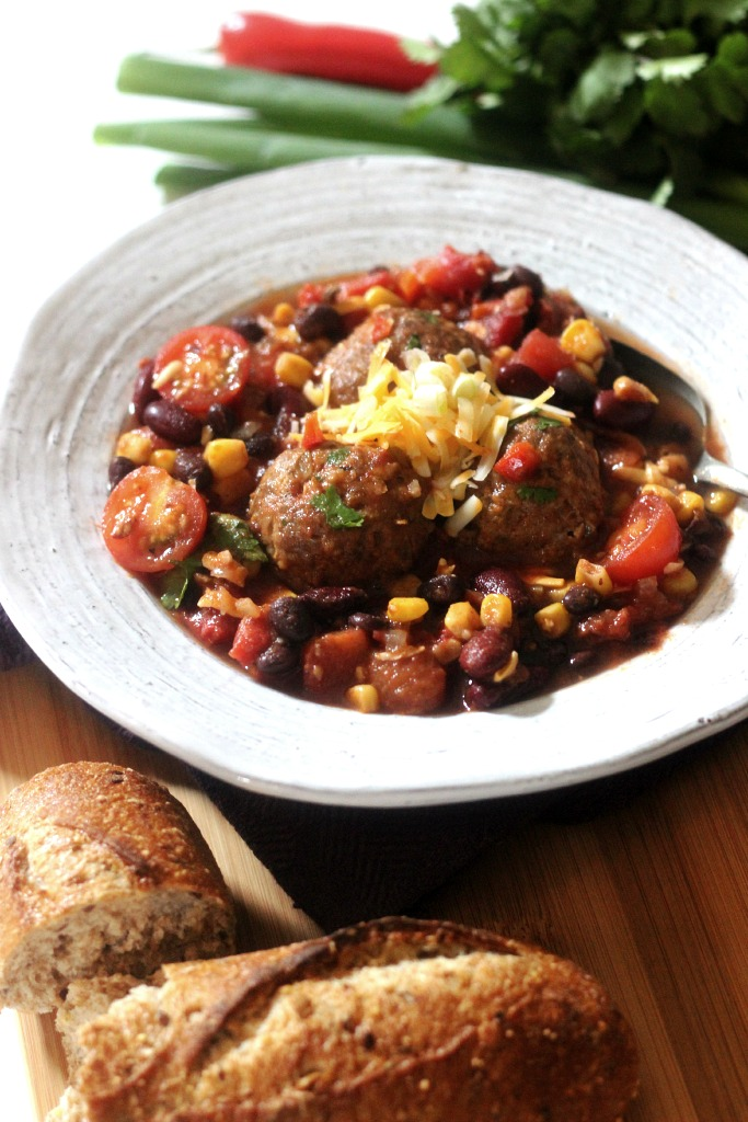 Southwestern Chili with Bison Meatballs -Simply Fresh Dinners